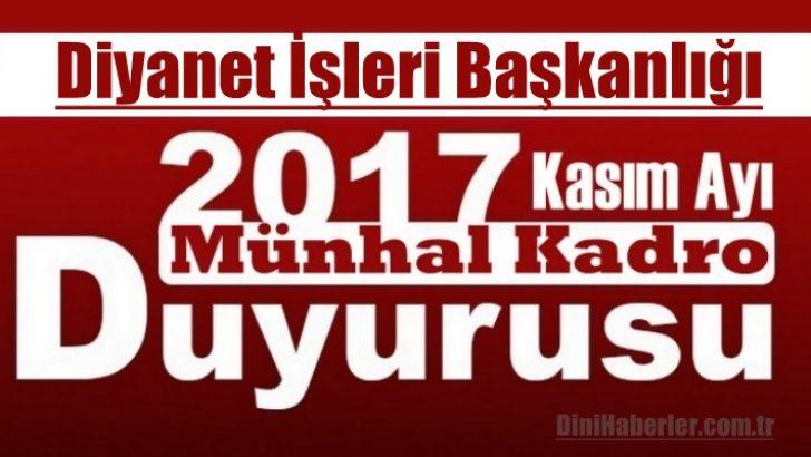 Nakil İsteyenler için Kasım Ayı Münhal Kadroları