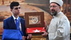 Başkan Erbaş, Filistin direnişinin sembolü Fevzi el Cuneydi'yi kabul etti.