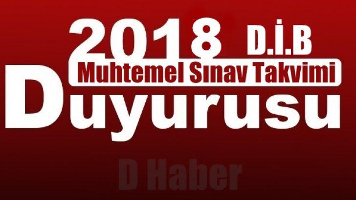 Diyanet 2018 Yılı Muhtemel Sınav Takvimi