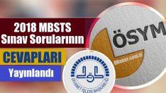 2018 MBSTS Sınav Soruları Cevapları